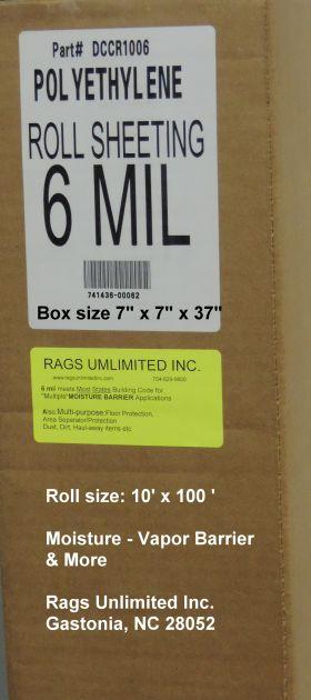DCCR1006 Vapor/Moisture Barrier Rags Unlimited